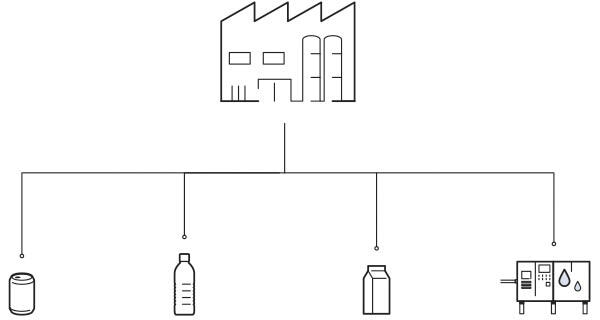 Graphical illustration of a valve island with PLC, illustration of a factory