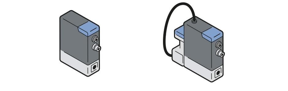 Grafische Darstellung Massendurchflussmesser MFM Typ 8756 und Massendurchflussregler MFC Typ 8756 mit Mikrozahnringpumpe